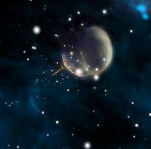"""(Portal): Astrónomos descobrem """"pulsar bala de canhão"""" a acelerar pelo espaço"""